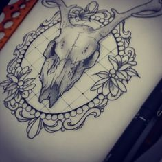 """160 Likes, 3 Comments - sophie adamson (@sophieadamson_tattoo) on Instagram: """"A few buts need changing then ready for skin, hope she likes :) #tattoodesign #drawing #stag #skull…"""""""