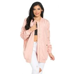 Longline Zip Through Bomber Jacket in Light Pink ($40) ❤ liked on Polyvore featuring outerwear, jackets, blouson jacket, light pink jacket, zip up jacket, light pink bomber jacket and distressed jacket