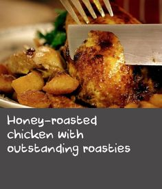 Honey-roasted chicken with outstanding roasties | This chicken is flavoured with a combination I have liked very much since childhood. I had acute asthma, and when the coughing fits got too heavy my parents would make me a juice of ginger blended with turmeric, honey and cinnamon. It worked like a dream, and to this day I swear by it. I tried roasting chicken with the mixture one day, adding some other touches – it was fantastic. To serve this with Tony's roasties, you'll need two ovens; the…
