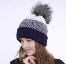 9c1ede44 Color block bobble hat with fur pom pom for women winter knitted hats