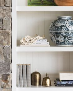 We love our hex beads because they look beautiful anywhere you lay them. They bring a casual feel to your coffee table or open shelving. Grey Bookshelves, Bookshelf Styling, Interior Design Inspiration, Kitchen Inspiration, Home Staging, Open Shelving, Accent Decor, Living Room Decor, Beads
