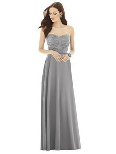 28be06ca58 Alfred Sung D727 is a full length strapless chiffon knit dress with  modified sweetheart neckline and