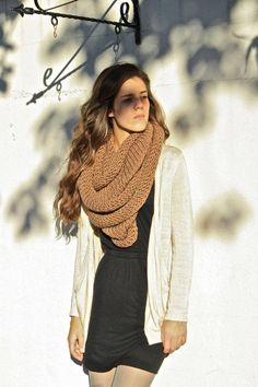 Chunky Knit Infinity Scarf- New even softer yarn!