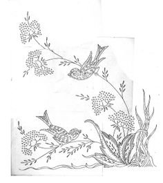 birds  and queens anne lace - embroidery pattern transfer