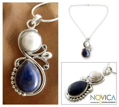 Pearl meets lapis lazuli in this attractive necklace. Shanker's gemstone necklace is handcrafted of sterling silver.