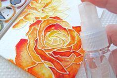 Splitcoaststampers - Tutorials...gorgeous watercoler with dry embossing...Manhattan Rose embossing folder...