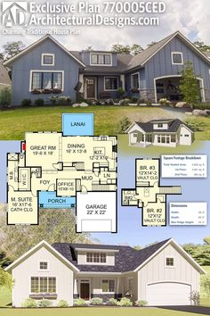 Architectural Designs Exclusive House Plan 770005CED gives you 3 beds, 2 baths and over 2,600 square feet of heated living space. Ready when you are. Where do YOU want to build? #770005CED #adhouseplans #architecturaldesigns #houseplan #architecture #newhome #newconstruction #newhouse #homedesign #dreamhome #dreamhouse #homeplan #architecture #architect #craftsmanhouse #craftsmanplan #craftsmanhome
