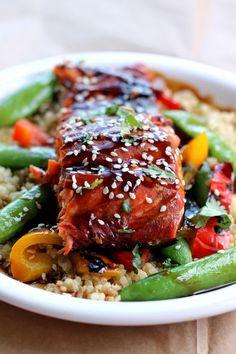 Sesame Ginger Sweet Teriyaki Salmon with Garlic Quinoa Veggie Stir-fry via ambitiouskitchen.com
