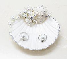 Seashell Wedding Ring Bearer Pillow Ring Holder Beach Wedding Ring