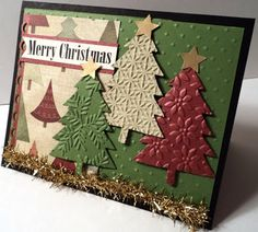 Shabby Christmas Trees Card with embossed card stock