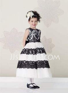 This comes in other colors - A-Line Princess Scoop Neck Ankle-Length Satin  Tulle Flower Girl Dresses With Lace Sash cc6bd6dda77f