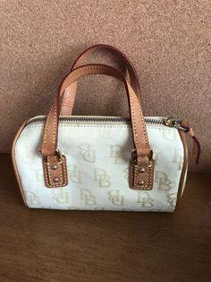 a7c9870e0389 Dooney   Bourke Mini Cream Signature Canvas   Leather Trim Satchal Handbag