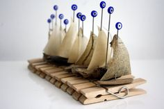 """3 driftwood boats """"peg-sail """" with a sail from genuine parchment on a clothespin and """"evil eye"""" glassbead...woodland"""
