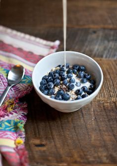 Blueberry's, granola, and almond milk - my favorite breakfast combination