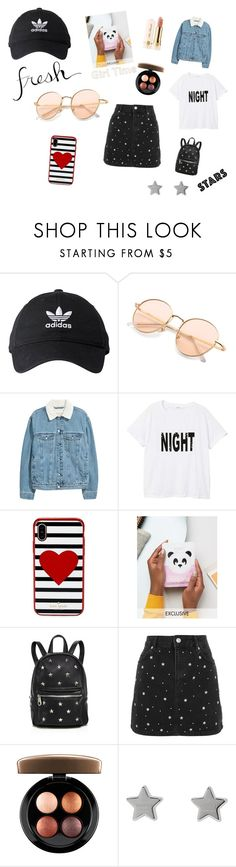 """Nice items"" by juliakramer-i ❤ liked on Polyvore featuring adidas, MANGO, Kate Spade, Sunset + Spring, Topshop, MAC Cosmetics, Too Faced Cosmetics and Gucci"