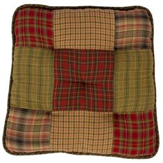 Tea Cabin Chair Pad Patchwork has 100 Cotton filling. Chair pad body measures with taper to 13 at back. Ties are 15 length and tapered at ends, with at tapered end and 34 where attached to chair pad.