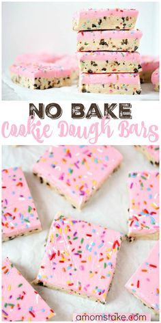 So delicious, these no bake cookie dough bars are easy to make and no baking required! You'll love this easy cookie bar dessert with sprinkles! via @amomstake
