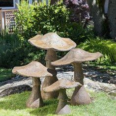 Decorative Garden Mushroom Ornament from Castart Studios - Cement Art, Concrete Crafts, Concrete Art, Concrete Garden, Garden Crafts, Diy Garden Decor, Garden Projects, Concrete Leaves, Mushroom Decor