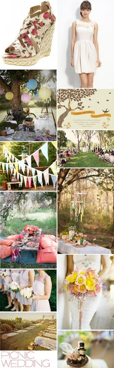 Picnic wedding: lazy summer afternoon, floaty organza and vintage fabric bunting. Sigh...now all I need is a glass of homemade lemonade in a Mason jar!
