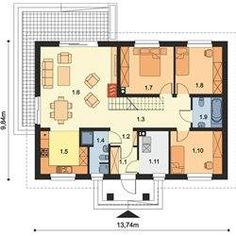 Small Villa, Garden Cabins, My House Plans, House Elevation, Design Case, Planer, Bungalow, Floor Plans, Layout