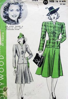 1940 Hollywood Pattern 1984 Featuring Jane Wyman Two PC Suit Fitted jacket, Flirty Flared Skirt Vintage Sewing Pattern Bust 32