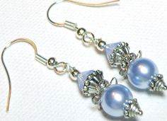 Jewelry Earrings Blue Baby Swarovski Crystal Pearl and Austrian Crystals Vintage Style Antiqued Silver Plate  FREE SHIPPING. $7.00, via Etsy.