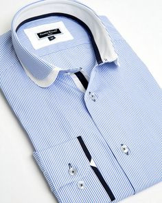Franck Michel shirt - Claudine Double Collar Blue