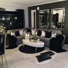 Black and Silver Living Room Decor 80 Stunning Small Living Room Decor Ideas for Your Apartment Living Room Decor Cozy, Living Room Grey, Living Room Modern, Home Living Room, Living Room Designs, Small Living, Apartment Living, Girl Apartment Decor, Apartment Design