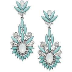 Bar Iii Silver-Tone Mint Ornate Drop Earrings (130 CNY) ❤ liked on Polyvore featuring jewelry, earrings, mint, mint green drop earrings, mint jewelry, filigree earrings, bar iii jewelry and silver tone earrings