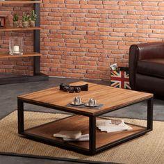 table basse carrée metal et bois