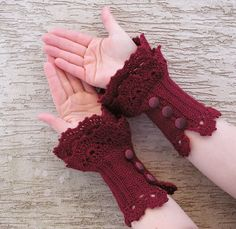 Very feminine accessory made from soft, thin acrylic yarn in deep burgundy colour. The arm warmers are fastened with buttons. Crochet Gloves Pattern, Knitted Gloves, Crochet Shawl, Knit Crochet, Crochet Patterns, Fingerless Gloves, Lace Cuffs, Crochet Bracelet, Crochet Gifts