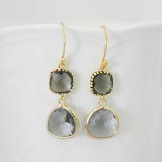 Black Diamond Earrings, Elegant  Czech Glass Earrings, Grey, Valentines Day, Bridesmaids Gift Ideas, Gold Bezel Earrings, Dangle, Fashion. $32.00, via Etsy.