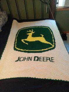 Crochet john deere throw afghan blanket