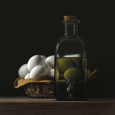 Heide von Faber, eieren en fles olijfolie Hyperrealism, Photorealism, Realistic Paintings, Art Paintings, Faber, Red Grapes, Painting Still Life, Hanging Signs, Contemporary Artists