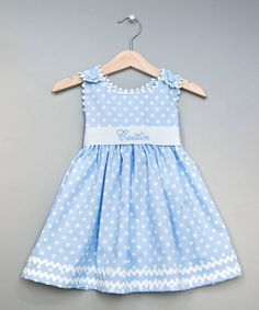 Take a look at this Blue Polka Dot Personalized Sash Dress - Infant, Toddler & Girls on zulily today!