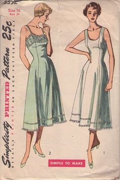 Retro Sewing MOMSPatterns Vintage Sewing Patterns - Simplicity 3352 Vintage Sewing Pattern DEMURE Modest New Look Era Princess Seams, Scoop Neck Full Slip, Slip Dress, Flared Skirt, Lace Insertion Trim - Moda Vintage, Vintage Fur, Vintage Mode, Lingerie Patterns, Vintage Dress Patterns, Clothing Patterns, Vintage Outfits, Vintage Dresses, 1950s Fashion