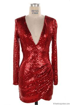 Sequin Long Sleeve Low Cut V-Neck New Year's Eve Holiday Mini Dress-Red - Perfect New Year's Eve or Christmas Dress