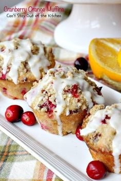 These lovely muffins have super humongous muffin tops and are incredibly festive and beautiful. Filled with cranberries, orange juice and zest and pecans, with a delightful streusel and orange glaze, they make an amazing holiday breakfast. Cranberry Fruit, Cranberry Orange Muffins, Caramel Apple Salad, Take A Meal, Orange Recipes, Fall Recipes, Holiday Recipes, Holiday Ideas, Baking Muffins