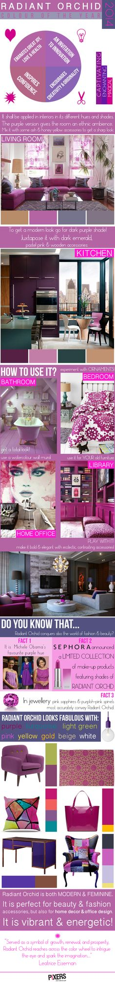 Radiant Orchid as a Trend Colour in 2014.   This colur is both modern & feminine. It's also vibrant & energetic! Look how to use it in your interior!  infographics by PIXERS