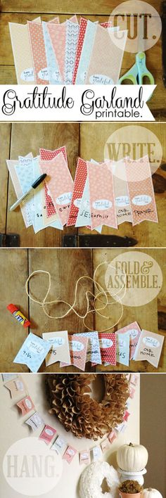 FREE Printable from @somewhatsimple | Gratitude Garland Instructions | Thanksgiving Crafts