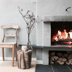 Windy and chilly Sunday 🌨 Log Burner, Open Fires, Rustic Elegance, Hearth, Basket, Interior Design, Fireplaces, Instagram Posts, Inspiration