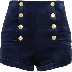 Pierre Balmain Stretch-velvet shorts (865 BGN) ❤ liked on Polyvore featuring shorts, bottoms, military shorts, navy shorts, tailored shorts, highwaist shorts and high rise shorts