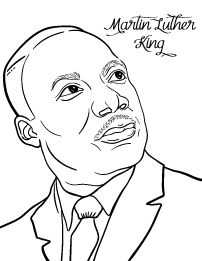 Martin Luther King Coloring Page Color Color Colortime Black