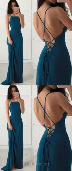 Long Prom Dresses, Blue Prom Dresses, 2018 Prom Dresses Backless, Girls Prom Dresses Sexy, Sheath/Column Prom Dresses Square Neckline, Chiffon Prom Dresses Ruffles Modest