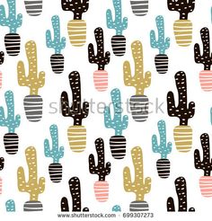 Seamless pattern with cactuse and hand drawn textures.Perfect for fabric,textile. Graphic Design Tutorials, Tropical Leaves, Vector Background, Cactus, How To Draw Hands, Royalty Free Stock Photos, Textiles, Hand Drawn, Templates