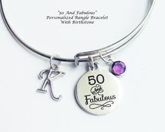 50th Birthday Gift For Women Fiftieth 50 And Fabulous Bangle Bracelet Birthstone Necklace50 Years Old