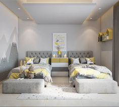 yellow kids bedroom on Behance Kids Bedroom Designs, Kids Bedroom Sets, Room Design Bedroom, Bedroom Layouts, Kids Room Design, Room Ideas Bedroom, Home Room Design, Modern Bedroom Design, Bed Design