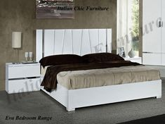 Eva Bedframe in High Gloss White with Optional Night Tables from Italian Chic Furniture. Styled to a Modern Italian Design Made in Italy. Italian Bedroom Furniture, Italian Chic, Night Table, Bed Frame, High Gloss, Italy, Modern, Design, Home Decor