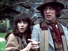 A scene from the 1976 story The Seeds Of Doom, featuring Lis Sladen as Sarah Jane and Tom Baker as the Doctor.