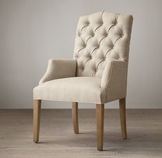 Bennett Parsons Upholstered Arm Chair in Fog Belgian Linen Upholstered Arm Chair, Chair And Ottoman, Oak Dining Chairs, Side Chairs, Georgian Furniture, Love Chair, Dinner Room, Fabric Armchairs, Ottomans